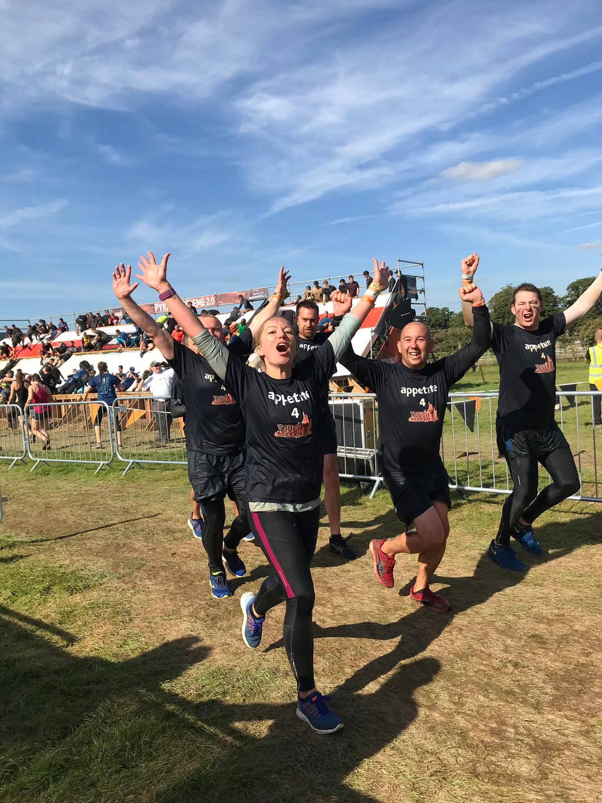 team running in a race